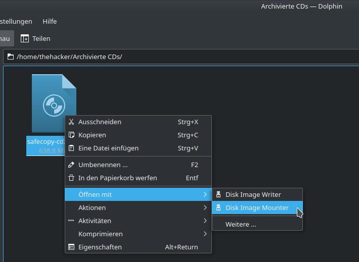 """Dolphin: Mounten eines ISO-Images mit einem Klick mittels """"Disk Image Mounter"""""""